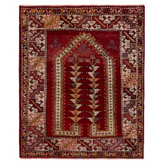 Hand-Knotted Vintage Ghiordes Rug in Red and Gold Geometric Pattern