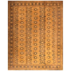 Hand Knotted Vintage Midcentury Ottoman Style Rug in Gold Floral Pattern