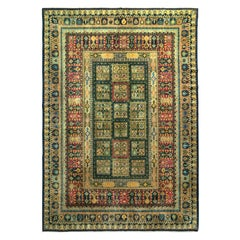 Hand Knotted Vintage Midcentury Rug in Green Geometric All-Over Pattern
