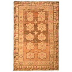 Hand Knotted Vintage Oushak Rug Beige Brown Peach Geometric Pattern
