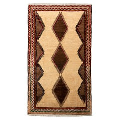 Hand-Knotted Vintage Persian Baluch Rug in Beige Brown Medallion Pattern