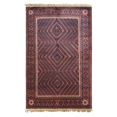 Hand-Knotted Vintage Persian Baluch Rug in Rust Brown and Blue Geometric Pattern