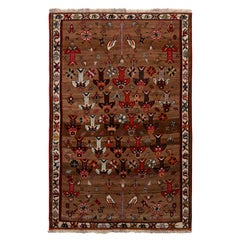 Hand-Knotted Vintage Persian Gabbeh Rug in Beige-Brown and Red Geometric Pattern