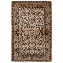 Hand Knotted Vintage Persian Qum Rug in Beige Brown All-Over Floral Pattern