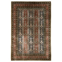 Hand Knotted Vintage Persian Rug in Red and Beige Brown Striped Floral Pattern