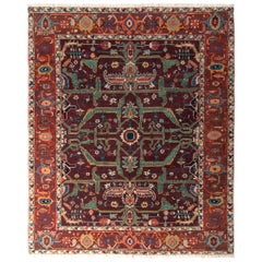 Hand Knotted Vintage Rug in Red and Green All-Over Geometric Pattern