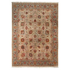 Hand-Knotted Vintage Tabriz Persian Rug in Green and Beige-Brown Floral Pattern