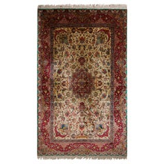 Hand-Knotted Vintage Tabriz Rug in Beige and Red Medallion Floral Pattern