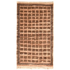 Hand Knotted Vintage Tulu Rug Beige Brown Shag Pile Geometric Pattern