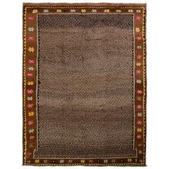 Hand Knotted Vintage Turkish Rug in Beige-Brown Geometric Pattern