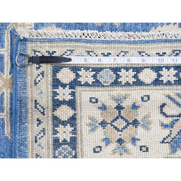 Hand Knotted Wide Runner Vintage Look Kazak Pure Wool Oriental Rug For Sale 9