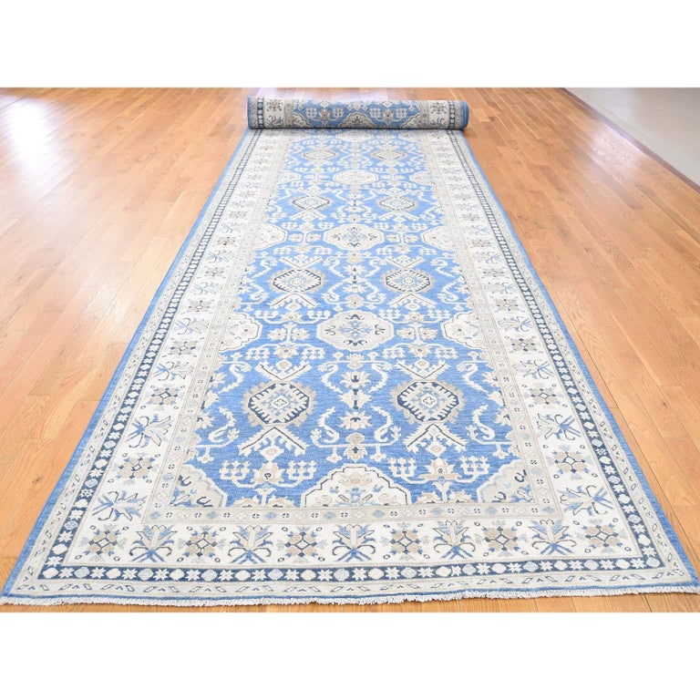 Hand Knotted Wide Runner Vintage Look Kazak Pure Wool Oriental Rug In New Condition For Sale In Carlstadt, NJ