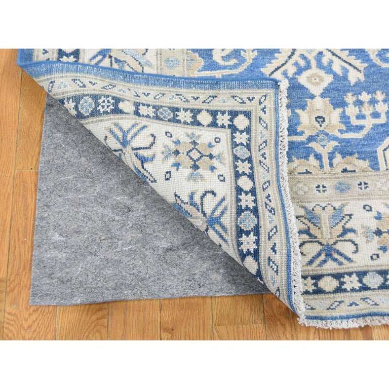 Hand Knotted Wide Runner Vintage Look Kazak Pure Wool Oriental Rug For Sale 2