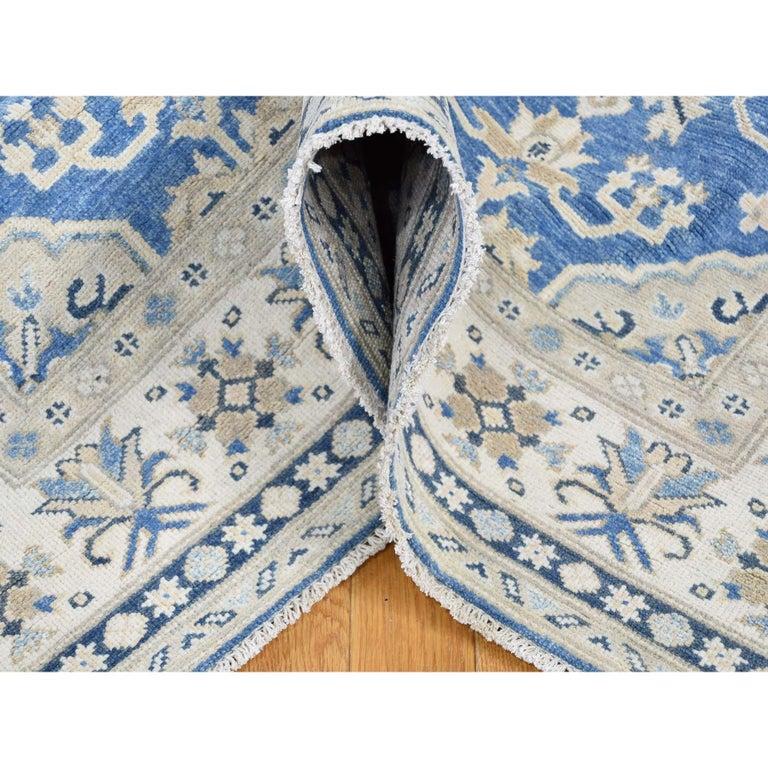 Hand Knotted Wide Runner Vintage Look Kazak Pure Wool Oriental Rug For Sale 3