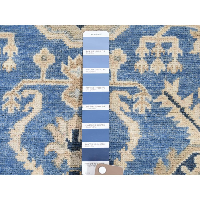 Hand Knotted Wide Runner Vintage Look Kazak Pure Wool Oriental Rug For Sale 5