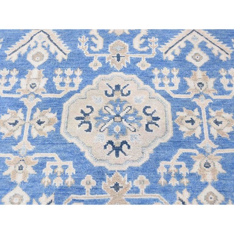 Hand Knotted Wide Runner Vintage Look Kazak Pure Wool Oriental Rug For Sale 6
