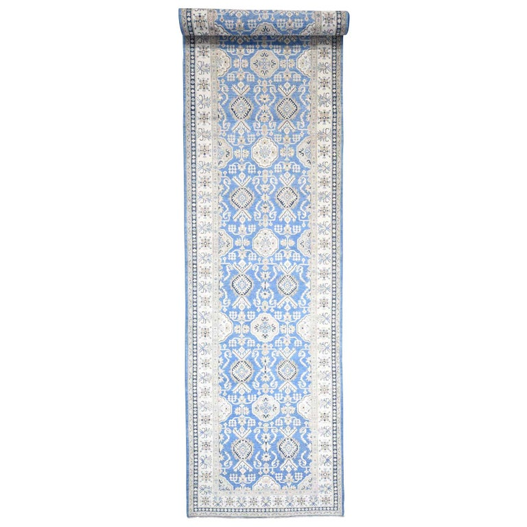 Hand Knotted Wide Runner Vintage Look Kazak Pure Wool Oriental Rug For Sale