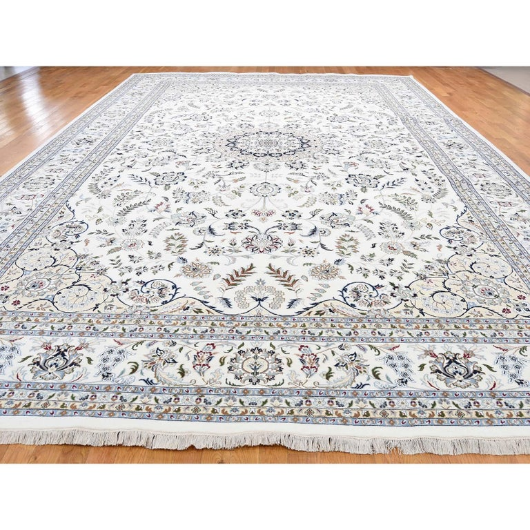 Other Hand Knotted Wool and Silk 250 Kpsi Ivory Nain Oversize Oriental Rug For Sale