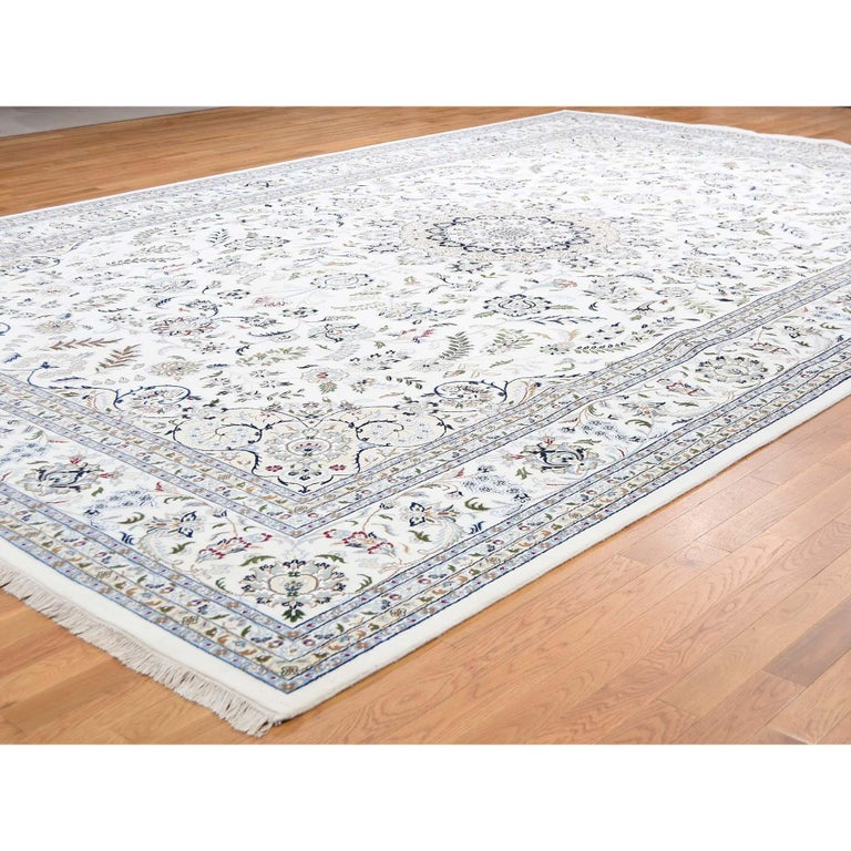 Afghan Hand Knotted Wool and Silk 250 Kpsi Ivory Nain Oversize Oriental Rug For Sale
