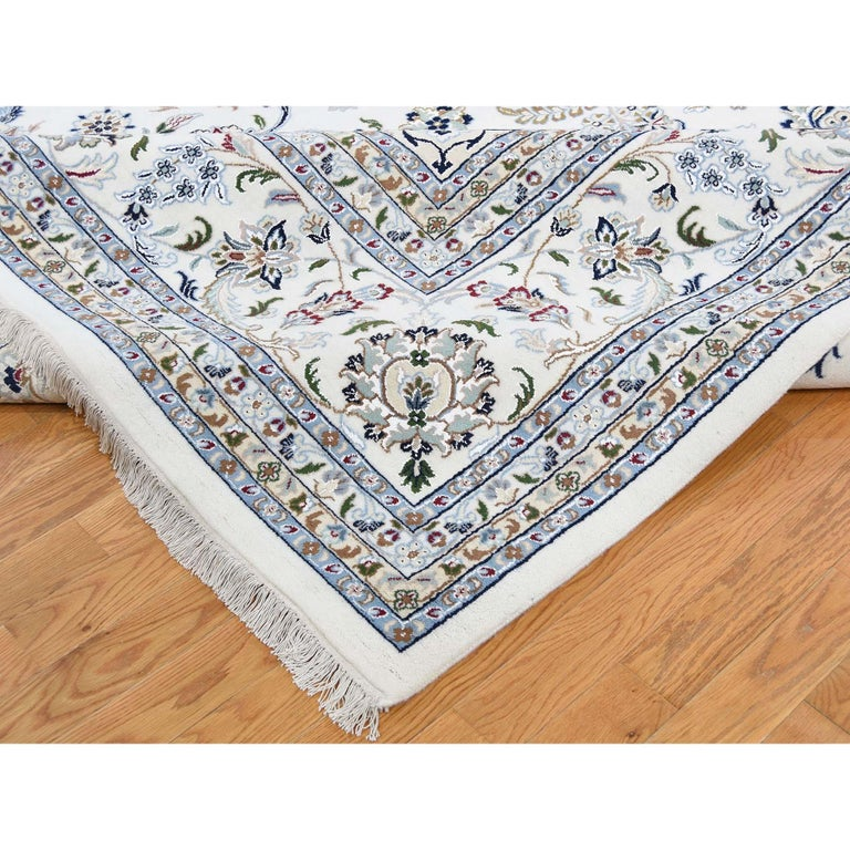 Contemporary Hand Knotted Wool and Silk 250 Kpsi Ivory Nain Oversize Oriental Rug For Sale
