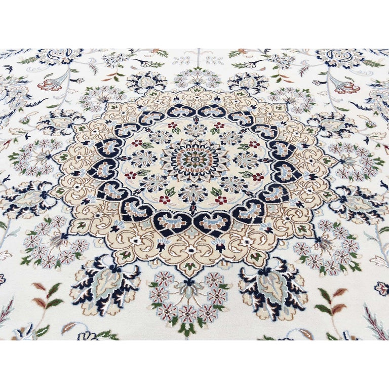 Hand Knotted Wool and Silk 250 Kpsi Ivory Nain Oversize Oriental Rug For Sale 2