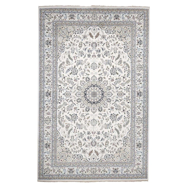 Hand Knotted Wool and Silk 250 Kpsi Ivory Nain Oversize Oriental Rug For Sale