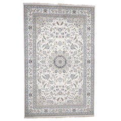 Hand Knotted Wool and Silk 250 Kpsi Ivory Nain Oversize Oriental Rug
