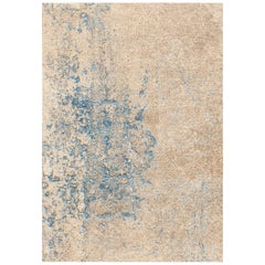 Hand Knotted Wool and Silk Abstract Rug by Gordian