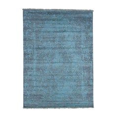Hand Knotted Wool and Silk Broken Persian Design Oriental Rug