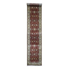 Hand Knotted Wool and Silk Hereke Design 300 Kpsi Runner Oriental Rug