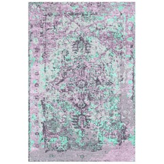 Hand Knotted Wool and Silk Modernized Persian Heriz Rug by Gordian