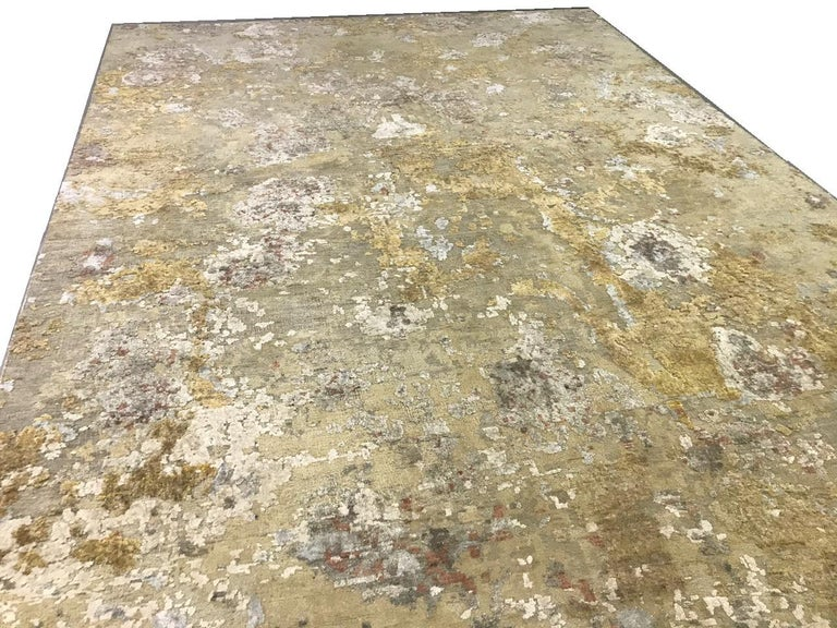 Hand-Knotted Gold Copper Rust Peach Beige Grey Hi-Low Hand-knotted Wool and Silk Rug in Stock For Sale