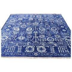 Hand Knotted Wool and Silk Square Tone on Tone Tabriz Oriental Rug