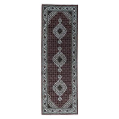 Hand Knotted Wool and Silk Tabriz Mahi Wide Runner Rug