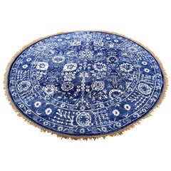 Hand Knotted Wool and Silk Tabriz Tone on Tone Round Oriental Rug