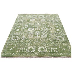 Hand Knotted Wool and Silk Tone on Tone Tabriz Oriental Rug