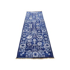 Hand Knotted Wool and Silk Tone on Tone Tabriz Runner Oriental Rug