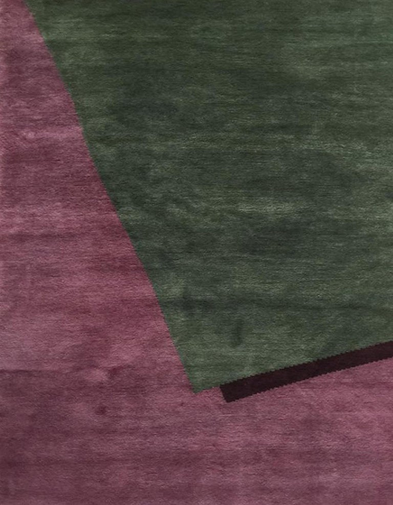 Modern Hand Knotted Wool Rug Burgundy Geometrical by Cecilia Setterdahl for Carpets CC For Sale