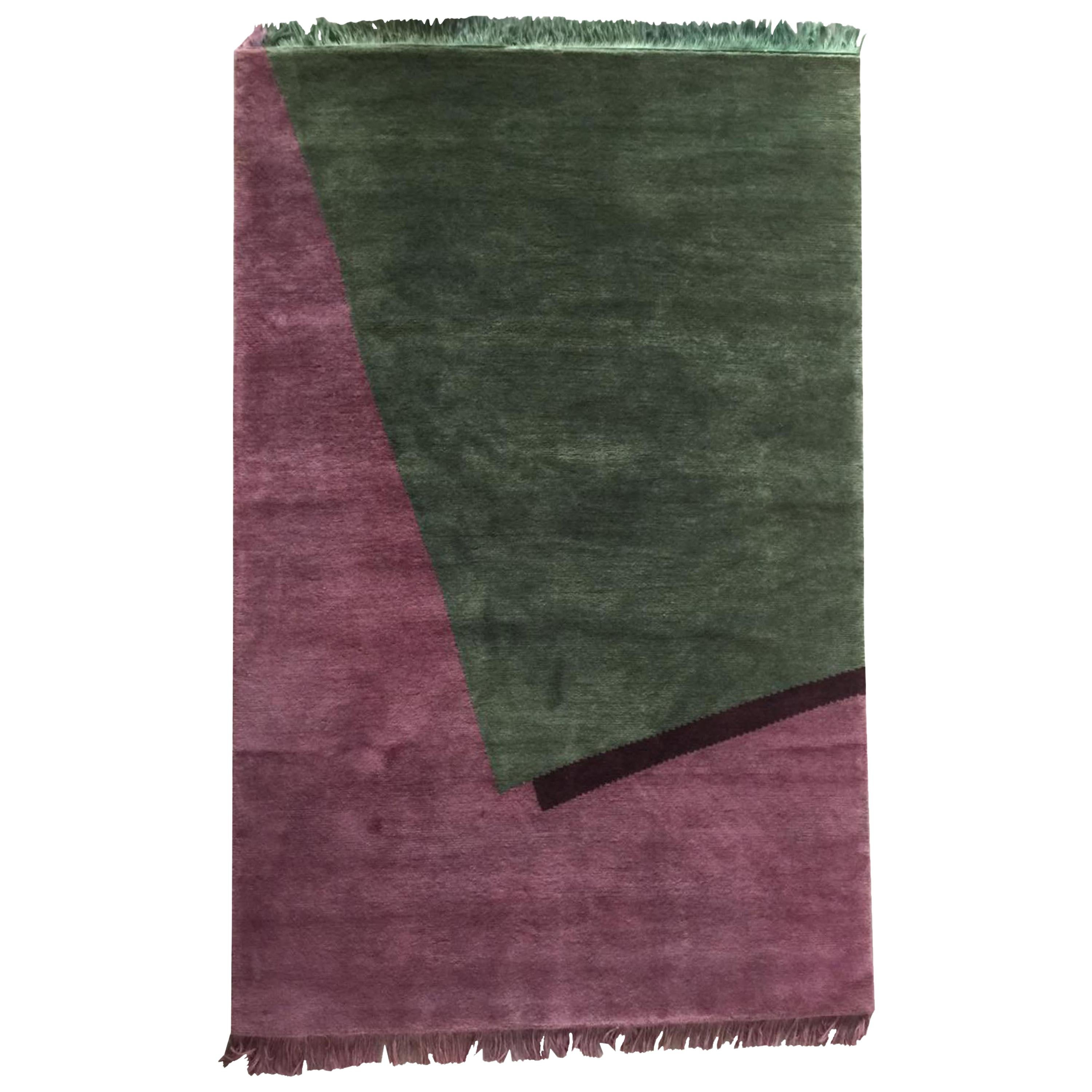 Hand Knotted Wool Rug Burgundy Geometrical by Cecilia Setterdahl for Carpets CC