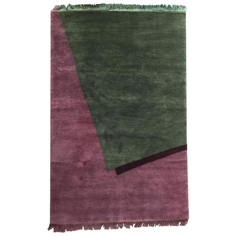 Hand Knotted Wool Rug Burgundy Geometrical by Cecilia Setterdahl for Carpets CC For Sale