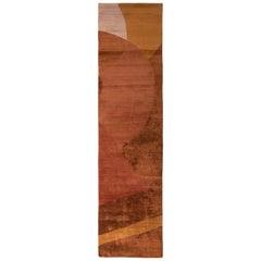 Hand Knotted Wool Silk Modern Runner in Brown, Geometric Design by Rug & Kilim