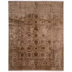 Hand Knotted Wool Silk Tabriz Rug Beige Brown Shabby Chic Floral Rug