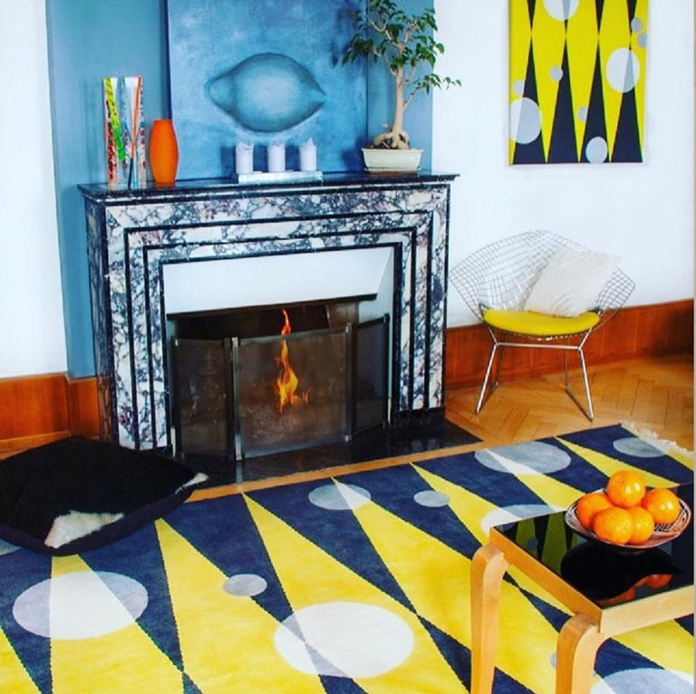 Modern Grey Yellow Wool Rug w/ Geometric Shapes by Cecilia Setterdahl for CarpetsCC For Sale