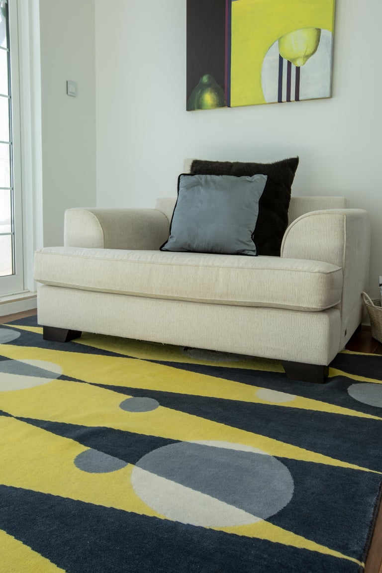 Hand-Knotted Grey Yellow Wool Rug w/ Geometric Shapes by Cecilia Setterdahl for CarpetsCC For Sale