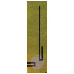 Yellow wool rug w/ white black design by Cecilia Setterdahl for  Carpets CC