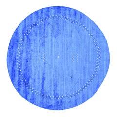 Hand-Loomed Modern Art Silk Denim Blue Gabbeh Oriental Round Rug