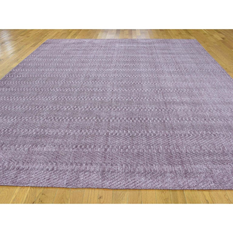 Modern Hand-Loomed Pure Wool Tone on Tone Oriental Rug For Sale