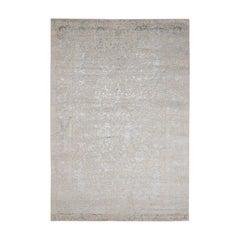 Hand-Loomed Tree Design Tone on Tone Wool and Silk Oriental Rug