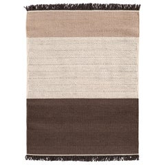 Hand-Loomed Tres Stripes Rug in Chocolate by Nani Marquina & Elisa Padro, Large