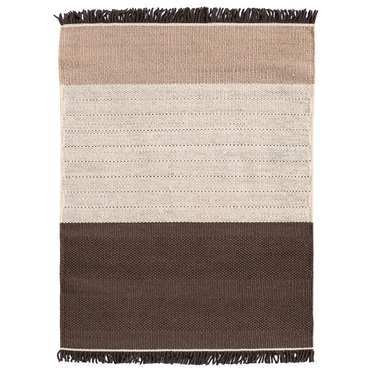 Hand Loomed Tres Stripes Rug In Chocolate By Nani Marquina